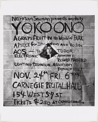 George Maciunas, Poster for Yoko Ono performance at Carnegie Hall, 1965.